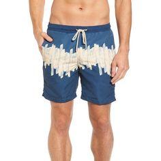 Men's Vestige Three Block Swim Trunks ($88) ❤ liked on Polyvore featuring men's fashion, men's clothing, men's swimwear, blue, men's apparel, mens swim trunks, mens swimwear, mens swimshorts and mens clothing