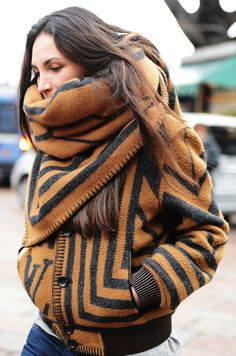 striped cozy wrap coat.