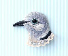 Collared dove . bird . brooch . handmade . felt . by conieco