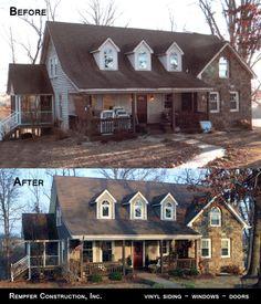 Rempfer Construction, Inc. Siding - Windows - Doors Before & After Vinyl Siding, Construction, Cabin, Windows, Doors, House Styles, Home Decor, Building, Vinyl Log Siding