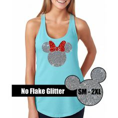 Glitter Minnie Mouse Tank Disneyland Shirt Disney Cinderella Castle... ($20) ❤ liked on Polyvore featuring tops, black, tanks, women's clothing, flat top, black top, black singlet, black tank and bow top