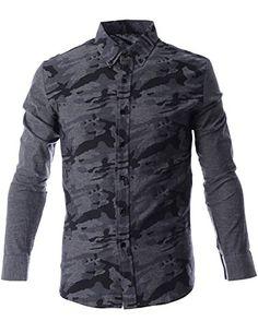 FLATSEVEN Mens Military Camo Pattern Print Long Sleeve Casual Shirt (SH1010) Grey, L FLATSEVEN http://www.amazon.com/dp/B00N4P59TU/ref=cm_sw_r_pi_dp_.rl0ub04JB98Z #mens shirts #FLATSEVEN #men #fashion #Camo pattern #casual #shirts #long sleeve