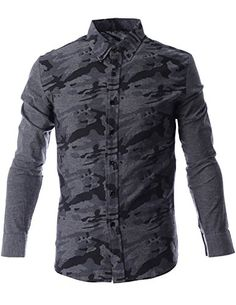 FLATSEVEN Mens Military Camo Pattern Print Long Sleeve Casual Shirt (SH1010) Grey, L FLATSEVEN http://www.amazon.com/dp/B00N4P59TU/ref=cm_sw_r_pi_dp_.rl0ub04JB98Z #mens shirts #FLATSEVEN #men #fashion #Camo pattern #casual #shirts #long sleeve