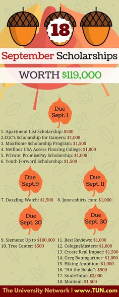 September 18 scholarships worth US dollars Make sure you're set for the upcoming semester by applying to these scholarships. could really help a STEM student! Here are 18 scholarships with September deadlines – apply away before the month flies School Scholarship, Student Scholarships, Graduate School, College Students, School Jobs, School Games, Student Loans, Law School, School Ideas