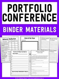 This 29-page Student Portfolio Conference Pack contains:- Parent Letter- Behavior Checklist- Goal Setting Sheets- Top 10 Things About Me- Tag Instructions- 14 Different Tags - Reflections on Artifacts- Binder Section Dividers (7 Subjects)Graphics from mycutegraphics.com