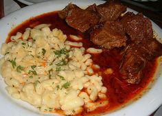 Pörkölt with galuska/nokedli (paprika-flavored meat stew with dumplings) Hungary