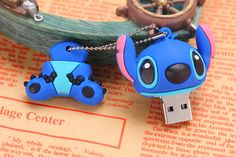 Cute Cartoon Stitch 32GB USB 3.0 Flash Drive Memory Stick with Keychain Blue