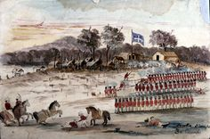 Eureka Slaughter by Charles A Doudiet. Government troops and police stormed and ransacked the Stockade Eureka Stockade, History Timeline, Australia Day, Victorian Gold, Melbourne, Sydney, British Colonial, Gold Rush, Australian Artists