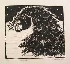 Stargazer Sloth Linocut limited edition black and by craftyhag