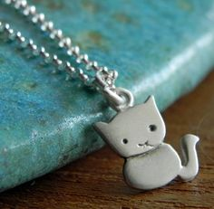 Cat necklace pendant in sterling silver Halloween by Fingerprince, $33.00