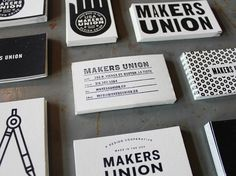 These DIY business cards for Makers Union have screenprinted backs and stamped fronts. Ten different backs and personally stamped fronts mean there is a fun, serial variety to these cards. — DUNCAN ROBERTSON