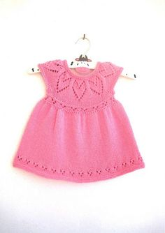 Polly Dress Knitting Pattern Baby girl to age 6 Instant Knitting For Kids, Baby Knitting Patterns, Baby Patterns, Dress Patterns, Pattern Baby, Knit Baby Dress, Simple Dresses, Pretty Dresses, Dress Collection