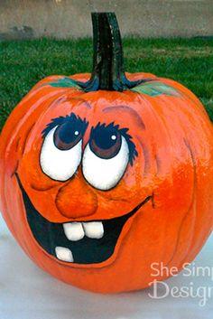 Halloween Pumpkin Decorating Ideas For More Fun ★ Pumpkin Face Paint, Pumpkin Art, Pumpkin Crafts, Fall Crafts, Pumpkin Painting, Painting Pumkins Ideas, Owl Pumpkin Carving, Pumpkin Eyes, Tole Painting