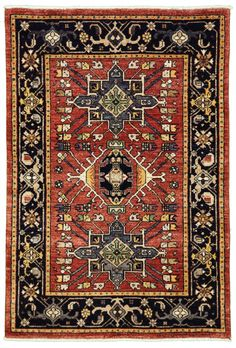 """New Pakistan Hand-woven Antique Reproduction of a 19th Century Persian Karajeh Rug 3'1""""x 4'7"""""""