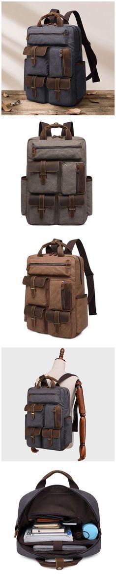 Canvas Travel Backpack Men Vintage Backpack Laptop Backpack QGX496 Men's Backpack, Canvas Backpack, Photography Bags, Vintage Backpacks, Canvas Leather, Army Green, Travel Bags, Vintage Men, Leather Men