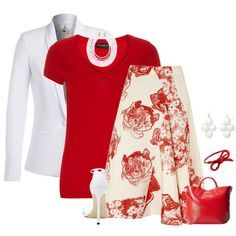 """Red White and Cute"" by borntoread on Polyvore"