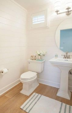 Wood Floor In Half Bathroom#bathroom #floor #wood Wood Floor Bathroom, Bathroom Windows, Downstairs Bathroom, Shiplap Bathroom, Bathroom Shelves, White Bathroom, Bathroom Faucets, Bathroom Storage, House Of Turquoise