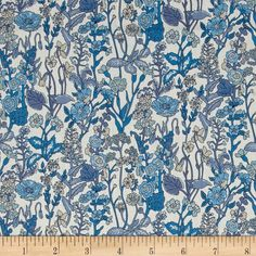 Liberty of London Flowers Lawn White/Blue from @fabricdotcom  From the world famous Liberty Of London, this exquisite cotton lawn fabric is finely woven, silky, very lightweight and ultra soft. This gorgeous fabric is oh so perfect for flirty blouses, dresses, lingerie, even quilting. Colors include cream, shades of blue, and tan accents.