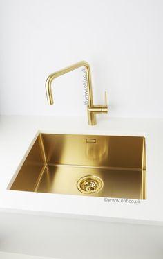 Gold / Brass kitchen sink, stainless steel, flushmount | Alveus Monarch Quadrix 50 Gold – Olif