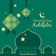 Traditional ketupat composition with flat deisgn Free Vector Greeting Card Template, Card Templates, Wallpaper Ramadhan, Eid Card Designs, Graphic Design Cv, Ramadan Background, Selamat Hari Raya, Banner Drawing, Eid Cards