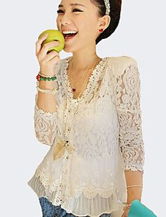 Women's+Lace+Going+out+Sexy+Spring+Summer+FallSolid+V+Neck+L...+–+USD+$+10.99