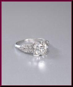 Antique Vintage Art Deco 1930 S Platinum Old European Cut Diamond Engagement Ring Wedding Er