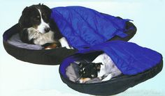 Yup...  It's a sleeping bag for your dog...  So they don't climb in yours! #Camping #Outdoors #Pets