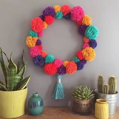 Handmade Bright Pom Pom Wreath : Are you interested in our Bright Pom Pom wreath hanging decoration? With our Handmade Pom Pom wreath wall decoration you need look no further. Crafts To Make And Sell, How To Make Wreaths, Diy And Crafts, Pom Pom Crafts, Yarn Crafts, Diy Pom Pom Rug, Pom Pom Kranz, Crafts For Teens, Kids Crafts