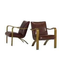 Bentwood upholstered arm chairs designed by Michael Thonet.