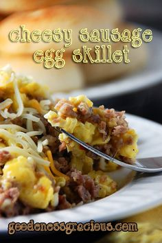 Cheesy Sausage Egg Skillet #recipe #easy #quick