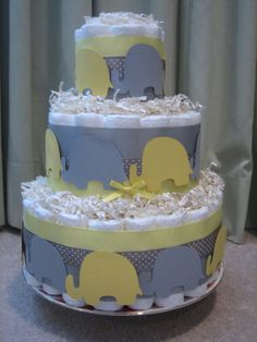 Yellow & Gray Elephant Diaper Cake for Baby Shower Centerpiece and New Baby Gift