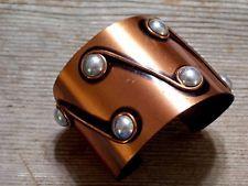 Vintage RENOIR Rare Modernist Copper Silver Wide Cuff Bracelet