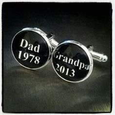 Personalized Grandparent Gift, Dad Grandpa, Custom Cufflinks, Fathers day gift, New Baby Announcement, Grandpa Gift, First time Dad via Etsy