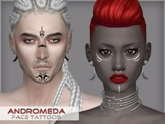 The Sims Resource: Andromeda – face tattoos by WistfulCastle • Sims 4 Downloads