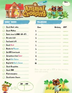 I made another Daily Checklist. Thought I'd share :) : ac_newhorizons Animal Crossing Wild World, Animal Crossing Guide, Animal Crossing Villagers, Animal Games, My Animal, Daily Checklist, New Leaf, Animals For Kids, Island