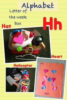 """Letter of the week box: hanger, helicopter, heart, horse, hammer, hay, hard hat, hands, and flash cards.  Give name of the object as your child takes it out of the box. Emphasize the beginning sound. Ex: """"That is a hammer. /h/ /h/ /h/ hammer. Hammer starts with H"""" (point to the letter h on the flash card)."""