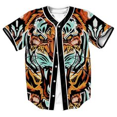 Hot Style 3D Print Animal Tiger Fashion Baseball Jersey T Shirt Summer Short Sleeved Button Cardigan Baseball Uniform Tops Tees #Affiliate