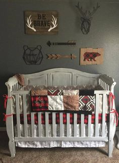Ensemble includes: Option 1: 1.Crib skirt- white gray arrows 2.Crib sheet-red black buffalo check 3.32x41 Patchwork Blanket- buck, deer skin minky, white gray a