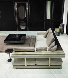 meuble salon design et canapé d'angle gris perle avec rangement en bois