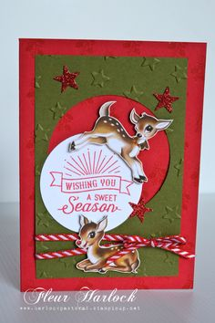 Stampin' Up! 'Home For Christmas' DSP, circles Framelits collection, 'Oh, What Fun' stamp set, Red Glimmer Paper, Itty Bitty Accents Punch set, Red 'Striped' ribbon, 'Lucky Stars' embossing folder.