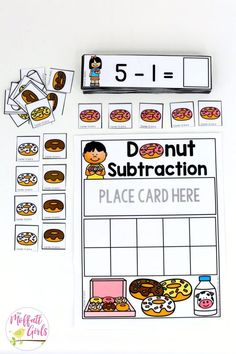 Math games 277956608240355206 - Donut Subtraction- Math Made Fun for Kindergarten! Teach subtraction up to 10 in Kindergarten fun, hands-on ways! Fun math centers and printable games included! Source by adventuresinkin Subtraction Kindergarten, Subtraction Activities, Kindergarten Math Activities, Preschool Math, Teaching Math, Kindergarten Graduation, Kindergarten Reading, Numeracy, Guided Maths