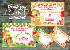 My Little Pony Invitation, My Little Pony Apple Jack Invitation, Apple Jack Invitation, My little Pony Apple Jack Thank you card