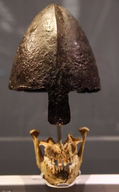 Jawbone and helmet of a young Viking Warrior @ The British Museum....quite breathtaking