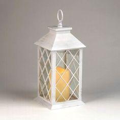 Distressed White LED Lantern | Kirklands