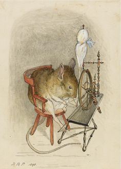 Content in a Cottage: Beatrix Potter Mouse + Spinning Wheel