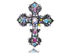 Easter Pastel Detail Crystal Rhinestone Flourish Flower Celtic Cross Pin Brooch Alilang. $10.99. Save 21%!
