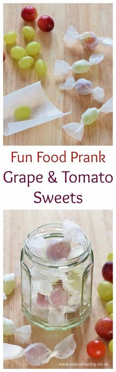 Fun food prank for kids - grape and tomato sweets - cute idea for party food…