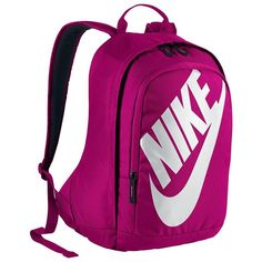 Nike Hayward Futura 15-inch Laptop Backpack (Pink) ($55) ❤ liked on Polyvore featuring bags, backpacks, pink, polyester backpack, nike, sport backpack, purple backpack and nike bag