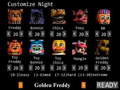 Custom Night - Five Nights At Freddy's 2... YOU CAN CHANGE GOLDEN FREDDY'S DIFFICULTY TOO? WE ARE SO DEAD