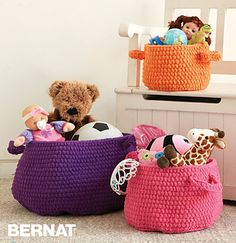 Ravelry: Clutter Catcher Baskets pattern by Bernat Design Studio